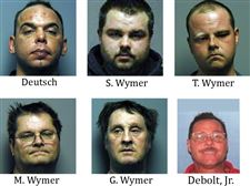Michael-Deutsch-37-Shawn-Wymer-27-Terrance-Wymer-28-Mike-Wymer-54-and-Gary-Wymer-55-were-arrested