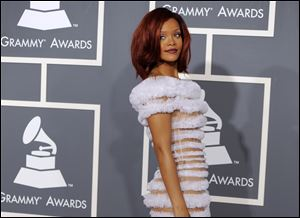 Rihanna at the 53rd annual Grammy Awards in Los Angeles.