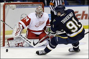 Red Wings goalie Petr Mrazek, a former Walleye player, stops St. Louis' Vladimir Tarasenko during the second period.