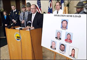 FBI Special Agent Joseph Callahan talks about arrests in an alleged chop- shop operation during a news conference on Thursday at One Government Center in Toledo.