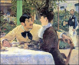 Toledo featured Manet's 'Chez le Pere Lathuille,' of a couple at an outdoor cafe. A Belgian museum, the Musee des Beaux Arts, loaned it to Toledo to juxtapose with Toledo's portrait of Antonin Proust, at right. 'Chez le Pere Lathuille' appeared only in Toledo, but the Proust portrait is displayed in London as well.