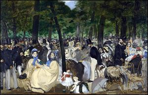 'Music in the Tuileries Gardens' is among the Manet works on display in London. The painting was not part of the earlier Manet exhibit in Toledo.