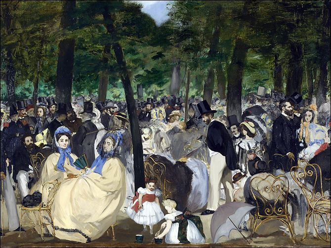 Manet Tuileries Gardens 'Music in the Tuileries Gardens' is among the Manet works on display in London. The painting was not part of the earlier Manet exhibit in Toledo.