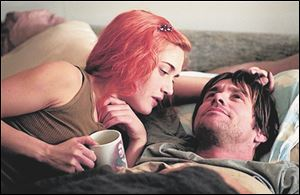Kate Winslet (left) and Jim Carrey (right) star in Michel Gondrys
