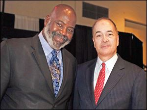 Mayor Mike Bell, left, and Allan Block at the Toledo Auto Show Gala.