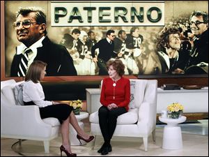 "Sue Paterno, widow of legendary football coach Joe Paterno, right, with Katie Couric for an exclusive interview for the ""Katie"" show in New York, Feb. 6."