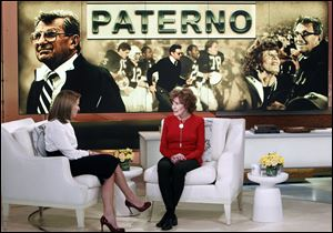 Sue Paterno, widow of legendary football coach Joe Paterno, right, with Katie Couric for an exclusive interview for the