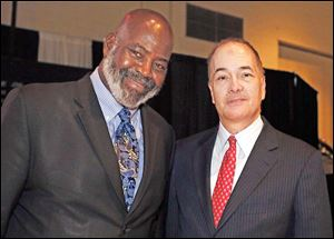 Mayor Mike Bell, left, and Allan Block at the Toledo Auto Show Gala, Wednesday at the SeaGate Convention Centre.