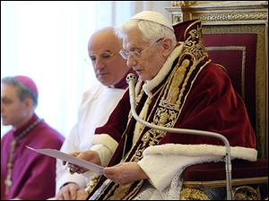 Citing his declining health, Pope Benedict XVI, 85, announces during a meeting of Vatican cardinals that he will resign effective Feb. 28. A Vatican spokesman said a new pope will likely be chosen in time for Easter.