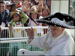 In March, 2012, Pope Benedict XVI donned a sombrero as he arrived to give a Mass in Bicentennial Park near Silao, Mexico. In recent months, the 85-year-old Pontiff has showed signs of age.