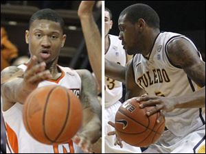 Bowling Green's A'uston Calhoun, left, and Toledo's Rian Pearson, right have been named MAC East and West Division players of the week respectively.