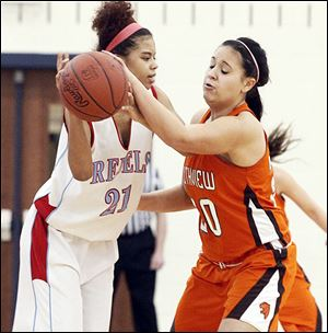 Bowsher's Tanae Gregory looks to pass around Southview's Morgan Ersig.