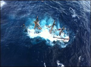 The HMS Bounty, a 180-foot sailboat, sunk in the Atlantic Ocean during Hurricane Sandy approximately 90 miles southeast of Hatteras, N.C., Monday, Oct. 29.