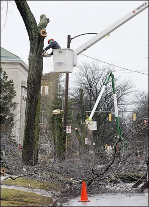 Richard Marshall, front, and James Hooks, back, of the Toledo Parks and Forestry Division cut down trees along Collingwood Boulevard, north of Bancroft Street, on Jan. 30. Federal officials have ordered a halt to tree cutting — part of a road project along Collingwood — saying that a review of the project's final plans is incomplete.