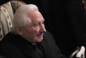 Georg Ratzinger, brother of the outgoing Pope Benedict XVI, answers journalists' questions during a media opportunity in his home in Regensburg, southern Germany.