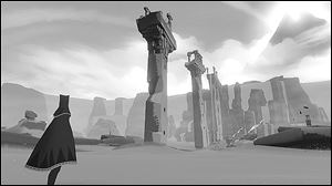 A screen shot from the game Journey created by Jenova Chen.