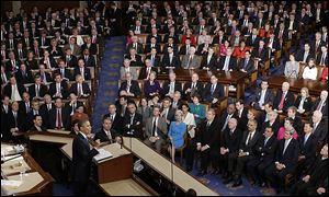 President Obama tells the joint session of Congress that the state of the union is stronger after a grueling recession and a grinding war.