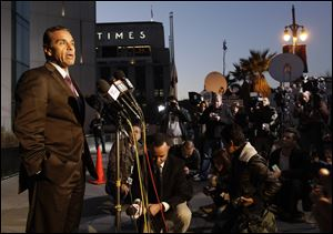 Los Angeles Mayor Antonio Villaraigosa makes comments about the shootout scene in Big Bear that allegedly involves ex-Los Angeles police officer Christopher Dorner, during a news conference today in front of the Police Administration Building in Los Angeles.