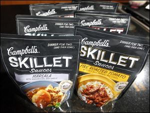 Campbell's new Skillet sauces are displayed at the Campbell Soup Company headquarters in Camden, N.J.