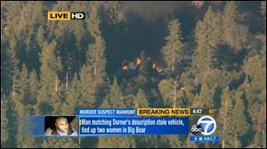 In this image taken from video provided by KABC-TV, the cabin in Big Bear, Calif. where ex-Los Angeles police officer Christopher Dorner was believed to be barricaded inside during a standoff with police officers is in flames Tuesday.