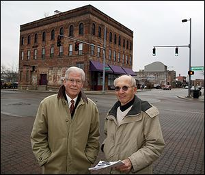 Richard Rideout, left, and Bob Seyfang  are proposing zoning regulations, design standards, and an architectural review committee to protect the Warehouse District.
