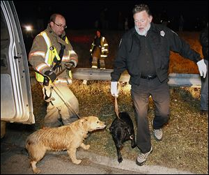 Deputy Dog Warden Ron Cannon takes two dogs that were stranded on ice for 10 hours into custody.