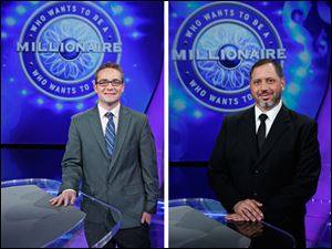 Tim McMahon of Perrysburg and Nick Montalbano of Toledo compete on 'Who Wants to be a Millionaire' next week.