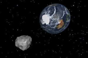 A simulation of asteroid 2012 DA14 approaching from the south as it passes through the Earth-moon system. The 150-foot object will pass within 17,000 miles of the Earth.
