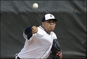 Tigers' reliever Bruce Rondon throws during a spring training workout in Lakeland, Fla. this week. The 22-year-old m