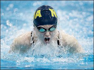Notre Dame Academy swimmer Avery Smale swims the breaststroke portion of the girls 200 yard medley relay.