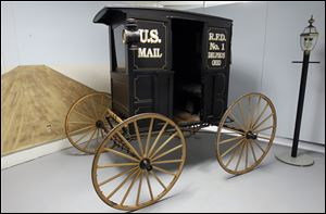 A 1906 Harrington rural mail buggy at the Delphos Museum of Postal History.