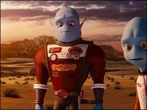 Brendan Fraser voices Scorch, center, in 'Escape from Planet Earth.'