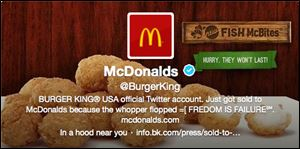 This frame grab taken today shows what appears to be Burger King's Twitter account after it was apparently hacked.
