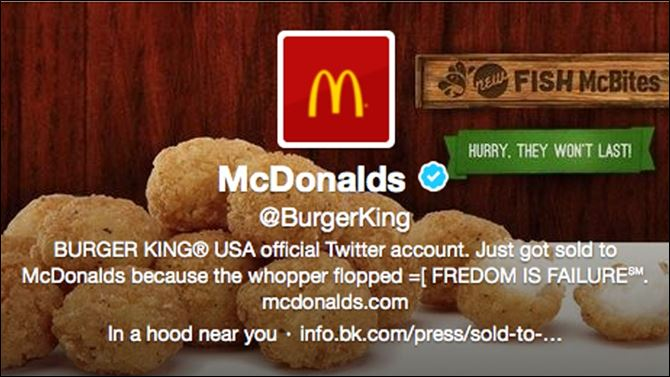 Burger King-Twitter Hacked This frame grab taken today shows what appears to be Burger King's Twitter account after it was apparently hacked.