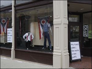 Nitza's, a clothing shop in Lima, Ohio, displays a sense of humor during the visit of Ohio Gov. John Kasich.