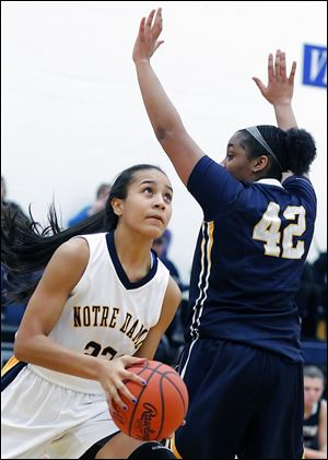 Notre Dame's Jayda Worthy goes to the basket against  Whitmer's Keshyra McCarver. Worthy leads the Eagles in scoring, averaging 13.5 points.