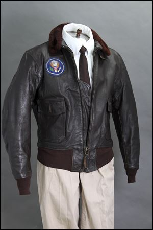 A photo John McInnis Auctioneers shows late President John F. Kennedy's Air Force One leather bomber jacket, which sold for $570,000 at an auction on Sunday.