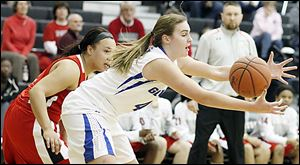 Anthony Wayne's Sara Zankl, right, and Lima Senior's Stacia Allen chase a loose ball during their Division I girls sectional Tuesday night in Tontogany. Zankl scored eight points in the Generals' loss.