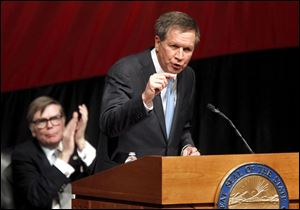 Ohio Gov. John Kasich gives his State of the State address at the Veteran's Memorial Civic & Convention Center in Lima, Ohio.