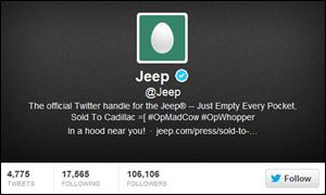 Jeep's official Twitter account had been stripped of all Jeep images and began posting offensive messages.