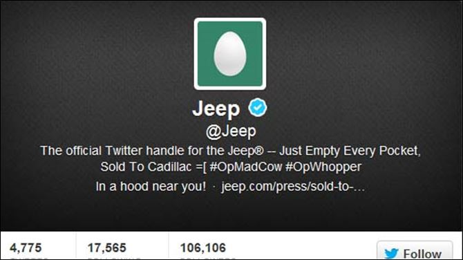 Jeep twitter Jeep's official Twitter account had been stripped of all Jeep images and began posting offensive messages.