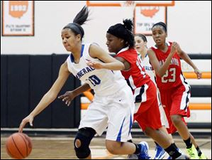 Anthony Wayne's Jasmine Bonivel (10) moves the ball against  Lima Senior's Indiya Benjamin (15).