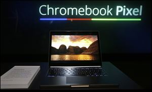 The Google Chromebook Pixel laptop computer is shown at an announcement in San Francisco today.