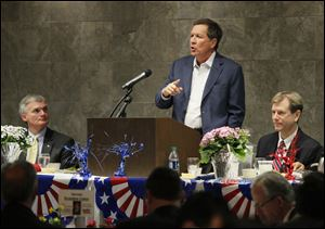 Ohio Governor John Kasich speaks at the Lucas County Republican Party Lincoln Day Dinner tonight at the Premier Banquet Hall in Toledo.