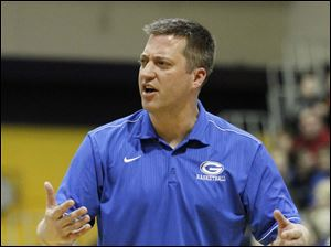 Anthony Wayne basketball coach Bryan Borcherdt disagrees with a call.