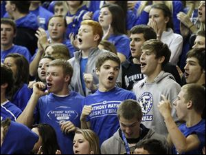 Anthony Wayne high school fans cheer for their team.