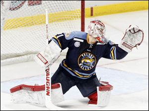 Walleye goalie Jordan Pearce finished with 25 saves to keep his team in the game.