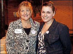 Deb Bucher, left, and her daughter-in-law Jean Bucher enjoy the heartwarming stories told at the Power to Grow fund-raiser.