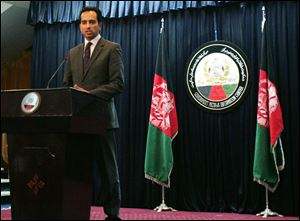 Afghanistan presidential spokesman Aimal Faizi speaks during a press conference in Kabul, Afghanistan, today.