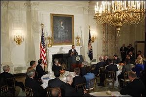 President Obama addresses the National Governors Association in the State Dining Room of the White House.